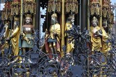 Nuremberg, Schoener Brunnen (= fontain bonito) Imagem de Stock