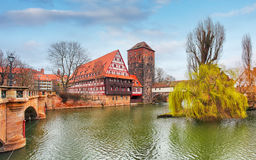 Nuremberg town, Germany, The riverside of Pegnitz river Royalty Free Stock Photography