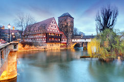 Nuremberg town, Germany, The riverside of Pegnitz river Stock Photo