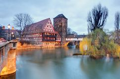 Nuremberg town, Germany, The riverside of Pegnitz river.  Royalty Free Stock Images