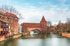 Nuremberg town - The riverside of Pegnitz river, Germany Royalty Free Stock Images
