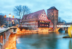 Nuremberg town - The riverside of Pegnitz river, Germany Stock Image