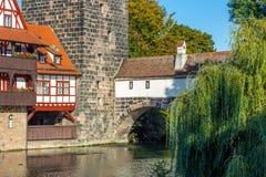 Nuremberg-Tyskland-gammal stadflod Pegnitz Royaltyfri Foto