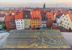 Nuremberg-Tyskland panorama-antenn sikt Royaltyfri Fotografi
