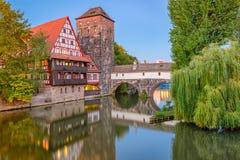 Nuremburg, Germany at Hangman`s Bridge. Over the Pegnitz River at dusk Royalty Free Stock Images