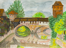 Nurenberg, painting Stock Images