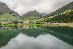 Nuria Sanctuary and reflection in the catalan pyrenees.Spain Royalty Free Stock Photography
