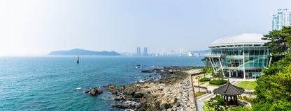 Nurimaru APEC-Haus, die Kongresshalle für APEC-Gipfeltreffen 2015 finden auf Insel Haeundae Dongbaekseom stockfoto
