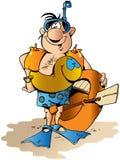 nurka akwalung śmieszny ilustracyjny Zdjęcie Stock