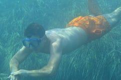 nurka gogle męski pływaczki underwater Fotografia Royalty Free
