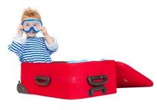 nurkowa dzieciaka maski żagla walizka Zdjęcia Stock