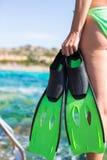 Nurkowi gogle, snorkel i snorkeling żebra przy, Zdjęcia Royalty Free