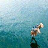 nurkowy jeziorny mężczyzna Fotografia Royalty Free