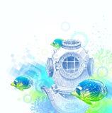 Nurkowy rocznika hełm i tropikalne ryba Obrazy Stock