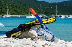 Nurkowy wyposażenie na plaży Obraz Stock
