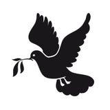 Nurkujący pokój Gołąb z gałązką oliwną dzień gołąbki kuli ziemskiej zawody międzynarodowe pokój Czarna ikona Fotografia Stock