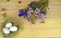 Nurkuje jajka w gniazdeczku z drewnianym tłem Obraz Royalty Free