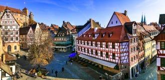Nurnberg в Баварии, Германии старый городок стоковые изображения rf