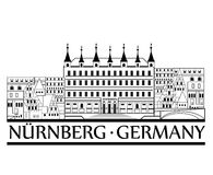 Nurnberg city view. Travel Germany label. Royalty Free Stock Photography