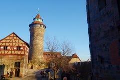 Nurnberg, Franconia medio, Baviera, Germania Vista del castello imperiale - simbolo di Norimberga Castello imperiale, un castello immagini stock