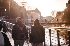 Nurnberg, Germany - April 5, 2018: People walking on the street in Old Town Altstadt royalty free stock photo