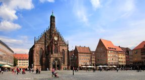 NURNBERG, GERMANY - JULY 13 2014: The Frauenkirche (Church of La stock photography