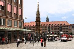 NURNBERG, GERMANY - JULY 13 2014: Hauptmarkt, the central square. Of Nuremberg, Bavaria, Germany. Nuremberg accommodates annually more than 2 millions tourists royalty free stock photography