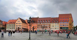 NURNBERG, GERMANY - JULY 13 2014: Hauptmarkt, the central square Royalty Free Stock Photography