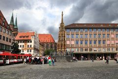 NURNBERG, GERMANY - JULY 13 2014: Hauptmarkt, the central square. Of Nuremberg, Bavaria, Germany. Nuremberg accommodates annually more than 2 millions tourists stock photography