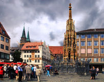 NURNBERG, GERMANY - JULY 13 2014: Hauptmarkt, the central square Stock Photos