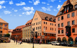 NURNBERG, GERMANY - JULY 13 2014: Hauptmarkt, the central square Stock Image