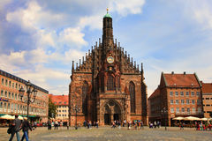 NURNBERG, GERMANY - JULY 13 2014: Hauptmarkt, the central square Stock Images