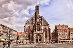 NURNBERG, GERMANY - JULY 13 2014: Hauptmarkt, the central square Stock Photo