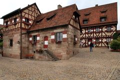 NURNBERG, GERMANY - JULY 13 2014. Houses in Imperial Castle Nure Royalty Free Stock Photo