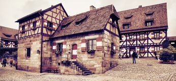 NURNBERG, GERMANY - JULY 13 2014. Houses in Imperial Castle Nure Stock Photography