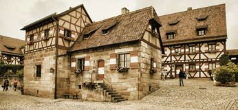 NURNBERG, GERMANY - JULY 13 2014. Houses in Imperial Castle Nure Royalty Free Stock Photos