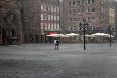 NURNBERG, GERMANY - JULY 13 2014: Rainy Day. Hauptmarkt, the cen. Tral square of Nuremberg, Bavaria, Germany.  Nuremberg accommodates annually more than 2 Royalty Free Stock Images