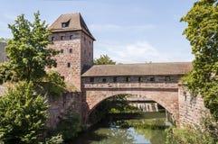 Nurnberg oude brug-landschap richtlijn Royalty-vrije Stock Foto's