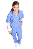 Nurse. Standing isolated on white in full body. Young asian woman medical professional - doctor or royalty free stock image