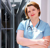Nurse. Portrait of a medical doctor or nurse in a hospital stock photography