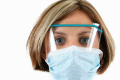 Nurse. A nurse with safety glasses and a mask Stock Image