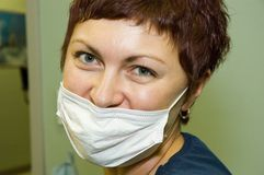 Nurse. In mask in the office stock image