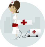 Nurse. In front of hospital and reanimation car Royalty Free Stock Photo