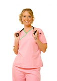 The Nurse. A nurse in her scrubs Royalty Free Stock Image