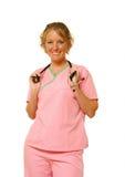 The Nurse. A nurse in her scrubs royalty free stock photo