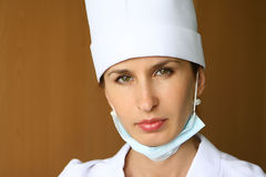 Nurse. In white uniform and mask Stock Photography
