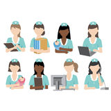Nurse activity. Vector file nurse doing various activity Vector Illustration