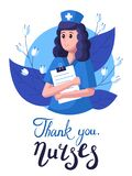 Nurse on the background of leaves and flowers. Thanks to the nurses. Greeting card for nursing day. Thank you lettering