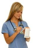 Nurse in blue. Beautiful nurse in blue medical uniform stock photography