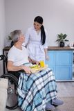 Nurse bringing food to patient in wheelchair. Beautiful lady taking care of elderly disabled man. Pretty nurse standing next to aged men in wheelchair with blue stock image